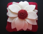 Decorative Pillow Aster Flower Ivory Red 16 x 16 Wool