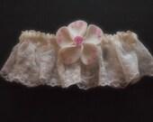 Garter Wedding Ivory Lace Pink