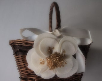 Flower Girl Basket Wedding Ivory Gold
