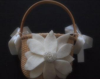 Flower Girl Basket Wedding Ivory Silver Aster Flower