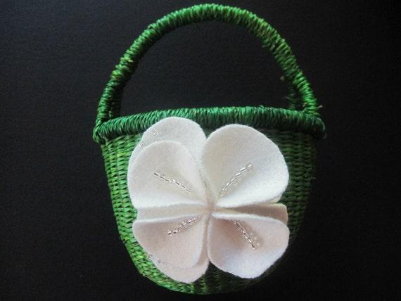 Flower Girl Baskets Green : Items similar to flower girl basket wedding green ivory on