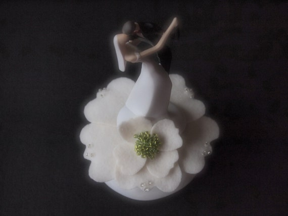 Wedding Cake Topper Ivory Green Bride and Groom Caucasian or African American