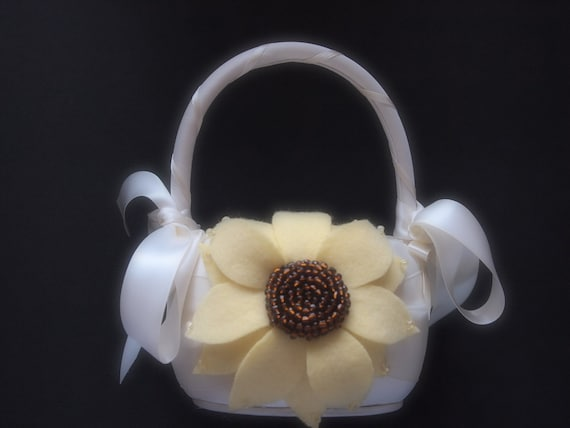 Flower Girl Basket Wedding Ivory Pastel Yellow Brown