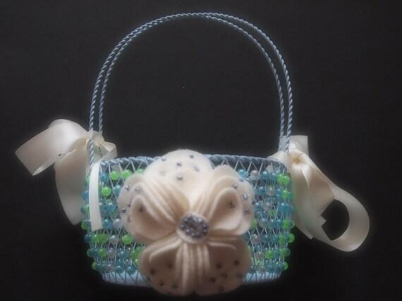 Flower Girl Baskets Green : Flower girl basket wedding green blue ivory
