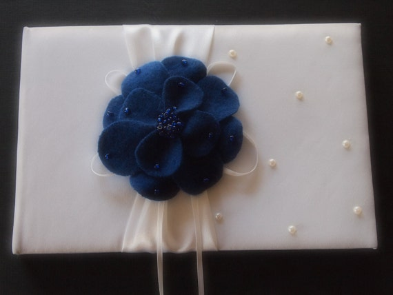 Guest Book Wedding Ivory or White Sapphire Blue
