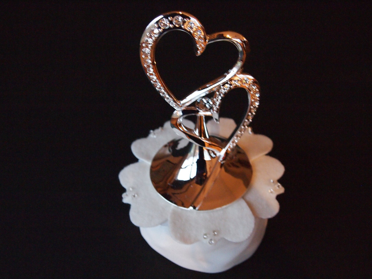 Cake Topper Wedding Silver Heart Ivory