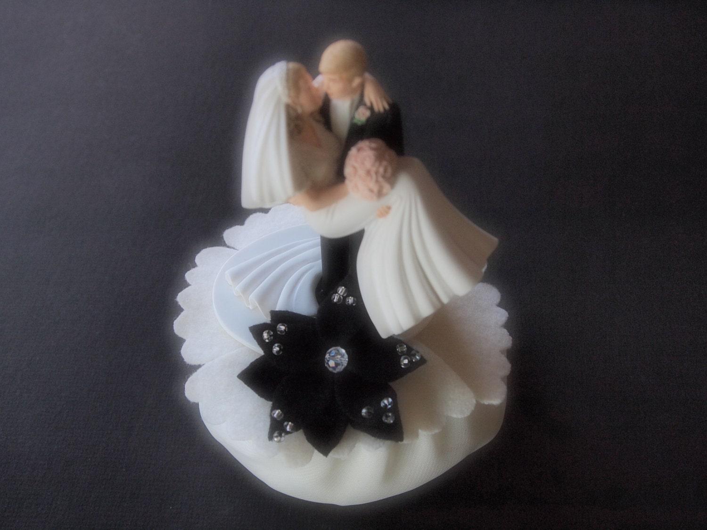 Cake Topper Wedding Black Ivory Bride and Groom