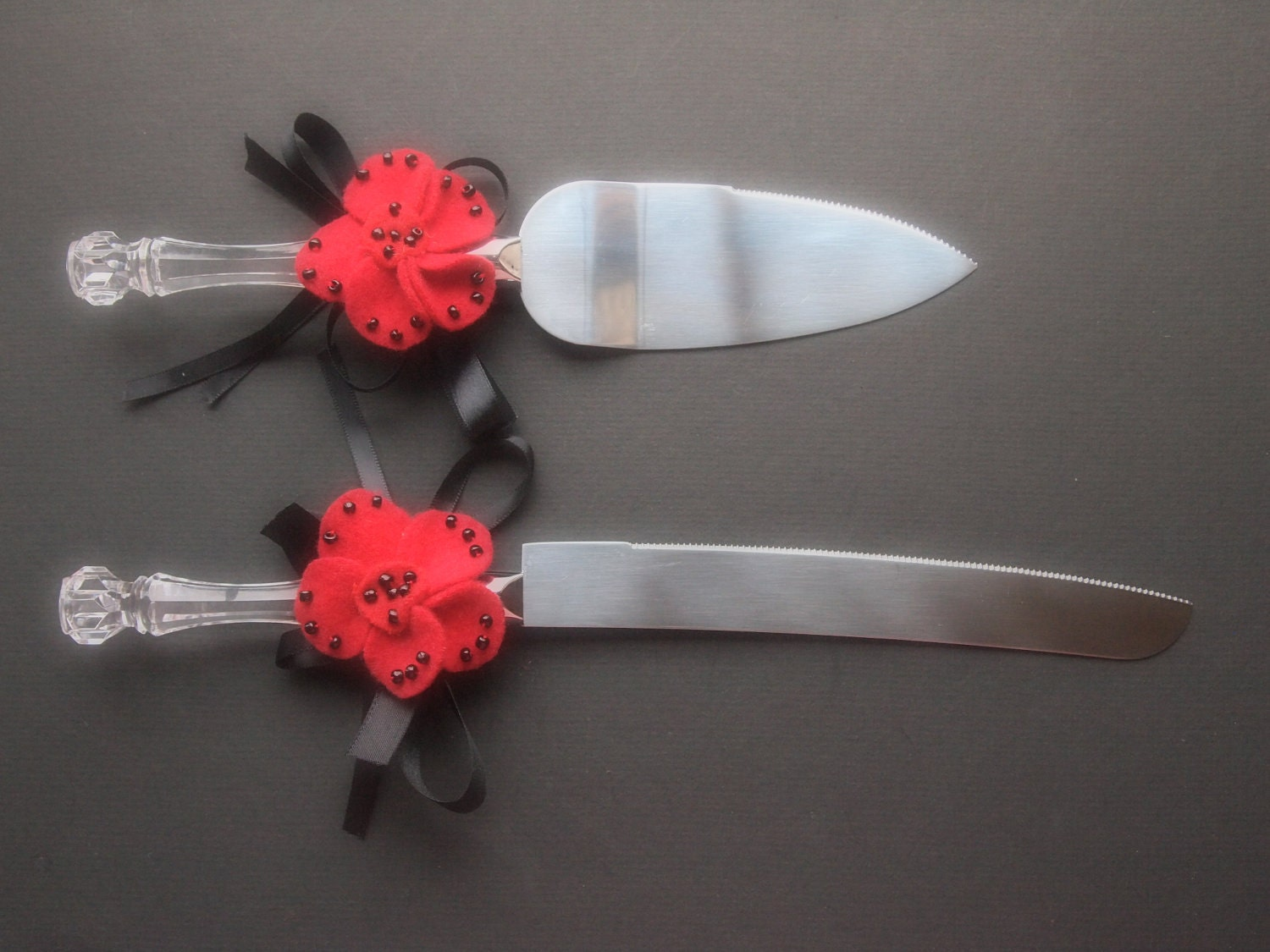 Cake Knife And Server Set Wedding Red Black