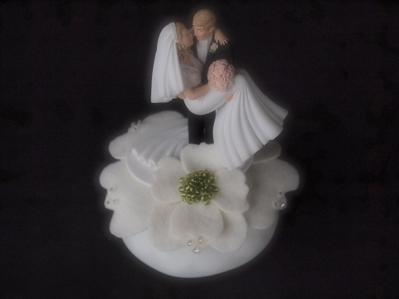 Cake Topper Wedding Ivory Green Bride and by ArtisanFeltStudio