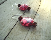 Hot Pink Turquoise Earrings: Sterling Silver, Turquoise Sterling Silver Earrings, Taiwan Turquoise, Pink Turquoise Earrings, Neon, Spring