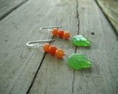 Jade Earrings: Orange Jade, Leaf Earring, Sterling Silver, Orange and Green, Leaf Earings, Dangle Orange Earrings, Orange Earings