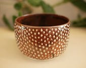 Red planter with dots