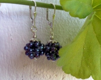 Blueberry earrings of blue-black freshwater pearls