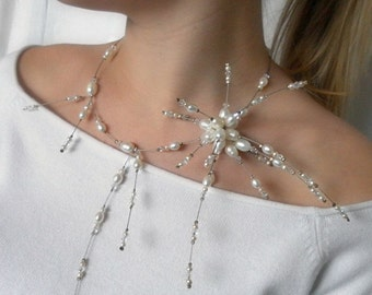 Pearl Necklace, White freshwater pearl, pearl Star design -  unique gift for her, wedding necklace