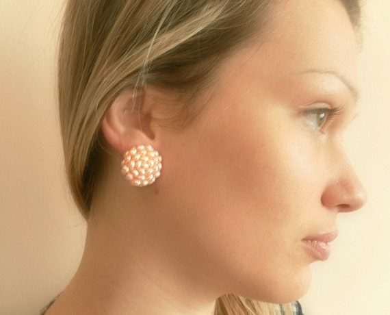 pink-peach Clip earrings, hand-sewn on buttons,  freshwater pearls.