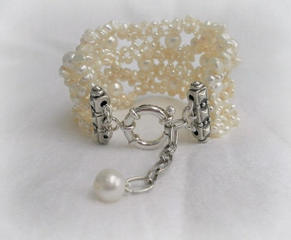 Bridal Cuff bracelet,Infinity Styles,White freshwater pearls, Sea white waves, JUST PEARLS-mother of the bride jewelry