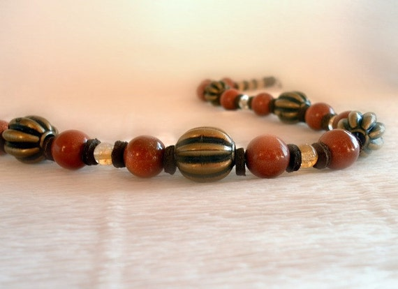 Ethnic necklace - warm combination of brown and yellow
