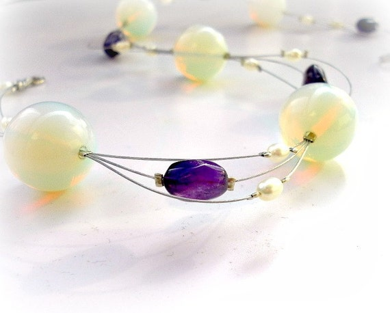 floating necklace, necklace opalite, amethyst and white pearls, wedding necklace,bridesmaid, wedding party,