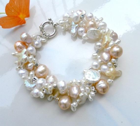Wedding jewlery, pearl bracelet bridal, pearl jewelry, wedding jewelry for brides, pearl bracelet, white and pink pearl twisted bracelet