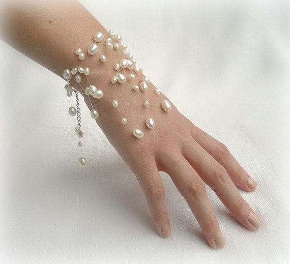 Floating Pearl Bracelet, bridal Illusion Bracelet, white Fresh water Pearl,and silver clasp- For Brides Bridesmaids