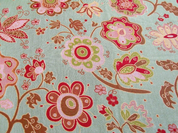 Retro Inspired Mint Green, Pink and Brown Scheme Fabrics