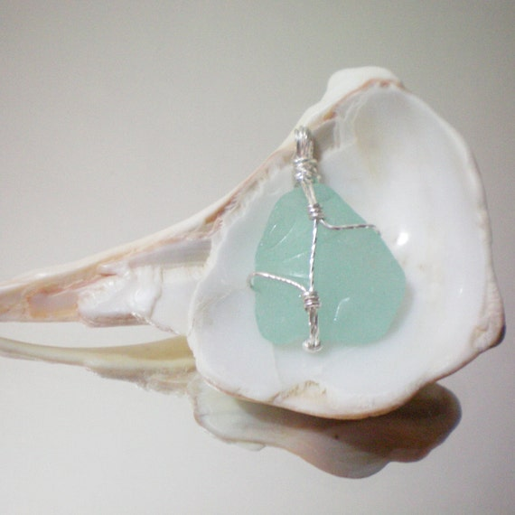 black friday & cyber monday SALES: teal sea glass wire wrapped pendant