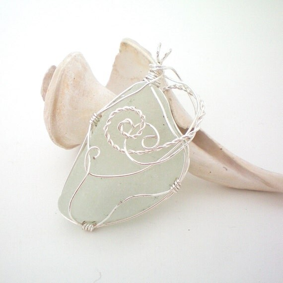 large white sea glass wire wrapped pendant OOAK