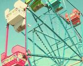 "Ferris Wheel Photograph - ""End of Summer""- Fine Art Photograph 8 x 10 Metallic Vintage Feel Distressed Summer Fair Carnival Photo"