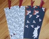 I Heart Bunnies & Blue Flower Bunny Bookmarks Set