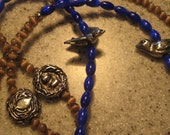"""No. 117 Lanyard Badge Necklace/Birds and Nest/32"""" Circumference"""