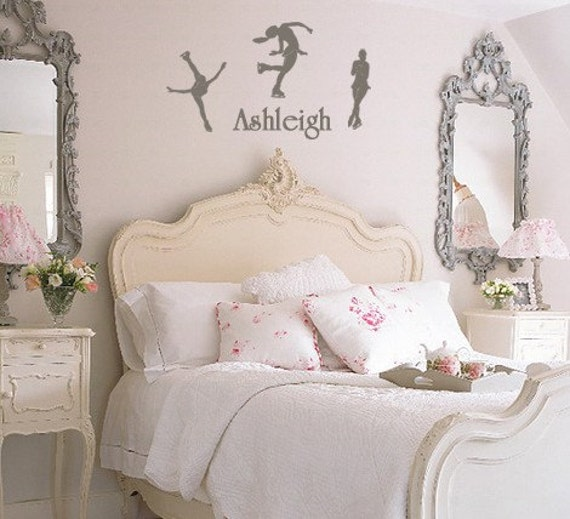 French Bedroom Furniture Ideas: Figure Skating Wall Decal With Name Ice By MommyofTyDesigns