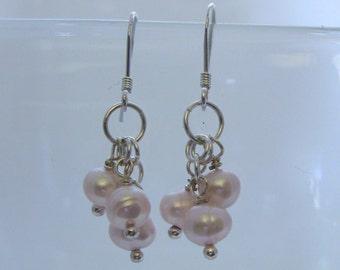 Sterling Silver & Pink Potato Pearl Earrings