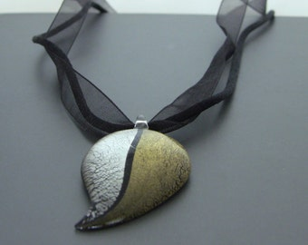 Gold & Silver Glass Leaf Necklace