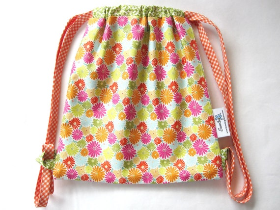 Drawstring Backpack/Girl/Bright Multi Floral & Orange Gingham