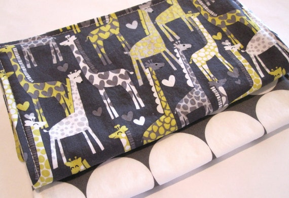 Burp Cloths/Giraffe Love and Disco Dot in Grey/Double Flannel Backing in White/Set of Two