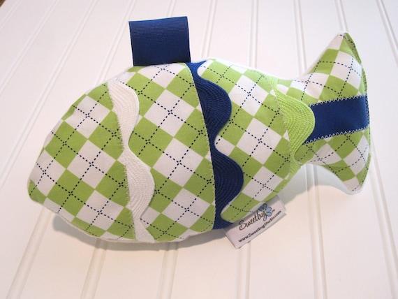 Fabric Rattle Fish,Sensory Toy/Lime Argyle/Organic Cotton Fleece