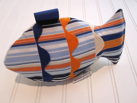 Fabric Rattle Fish,Sensory Toy/Nautical Stripe/Organic Cotton Fleece