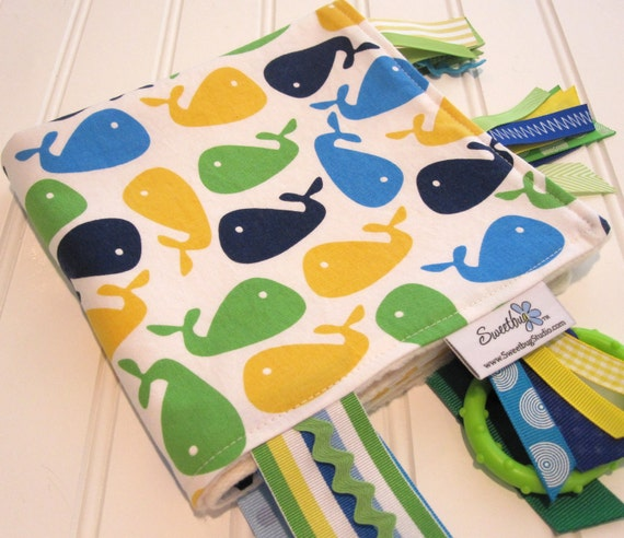 Sensory Ribbon Blanket,Lovey,Tag Blanket/Whales in Bright/Organic Cotton Fleece
