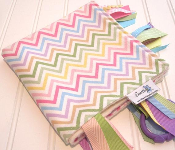 Reserved Order/Sensory Ribbon Blanket,Lovey,Tag Blanket/Zig Zag Stripe in Spring/Organic Cotton Fleece