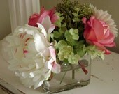 Beautiful Silk Flower Arrangement in Oval Glass Vase with Faux Water