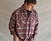 Rockabilly Plaid Shirt. Men's XL Shirt in Mauve w/Snap Buttons. Eveteam