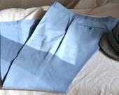 Vintage Men's Pants. Men's LIght Denim Blue Trousers.