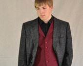 Red Houndstooth Vest. Vintage Men's Vest. Red & Black Wool