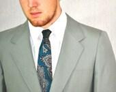 Vintage Halston Necktie. Teal, Burgundy & Gray Paisley Silk Tie. Eveteam