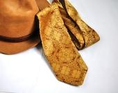 Gold Brocade Tie. Vintage Tone on Tone Gold Tapestry Wide Necktie. 60's-70's Eveteam