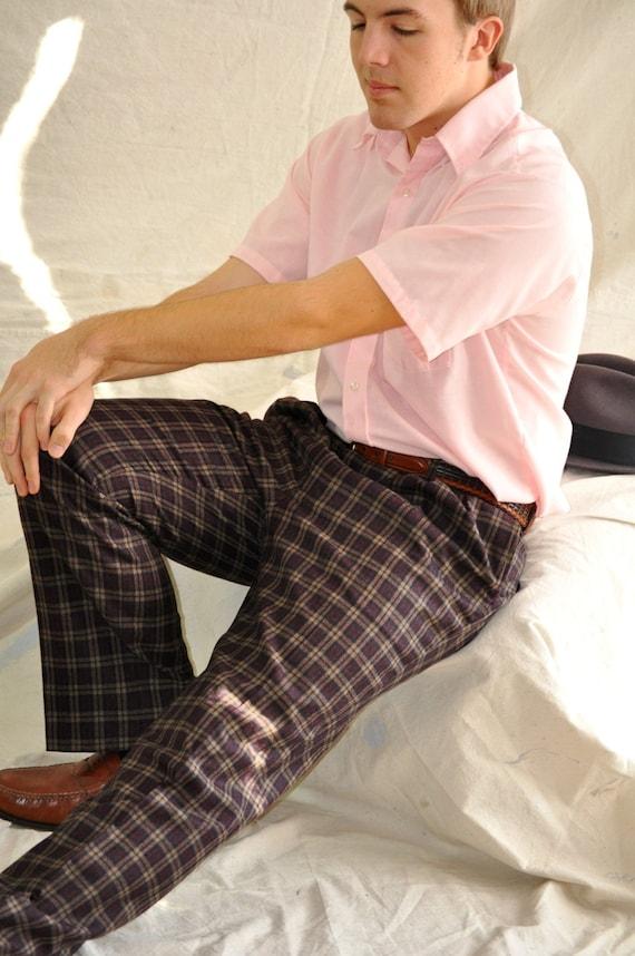 Plaid Wool Trousers. Men's Vintage Wool Plaid Pants in Bodacious Burgundy & Brown. 34 Men's Pants. Eveteam