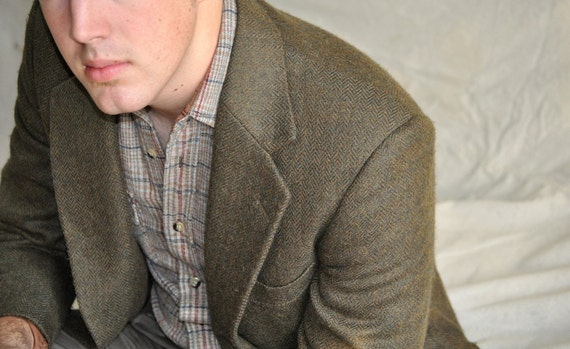 Men's Tweed Jacket. Deep Emerald Green Tweed Blazer.