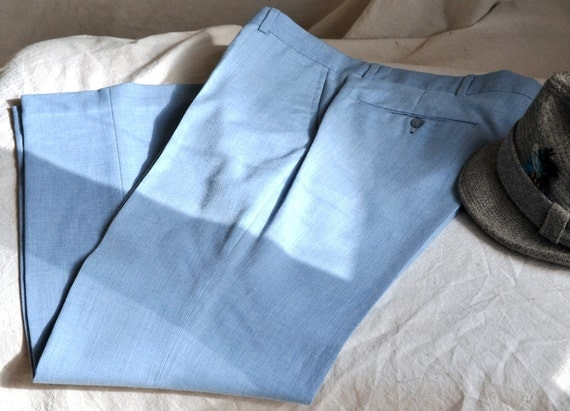 Vintage Men's Pants. Men's LIght Denim Blue Trousers.