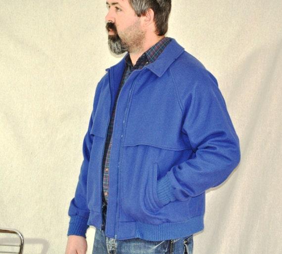 Vintage Pendleton Unisex Mens Coat Cobalt Blue Wool w/ Plaid Lined Jacket Large X Large Winter coat Outerwear