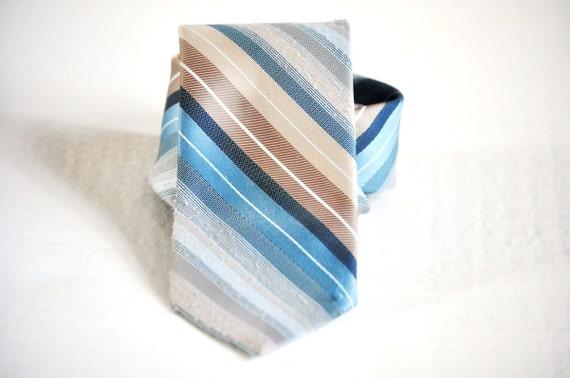 Retro Men's Tie/ Light Blues and Tans Striped Vintage Necktie. Eveteam